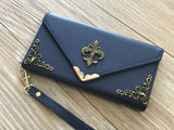 Fleur de lis phone leather wallet case for Apple / Samsung MN0009-icasecollections