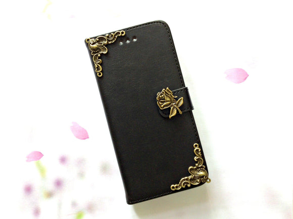 Flower handmade phone leather wallet case for Apple / Samsung MN0007-icasecollections