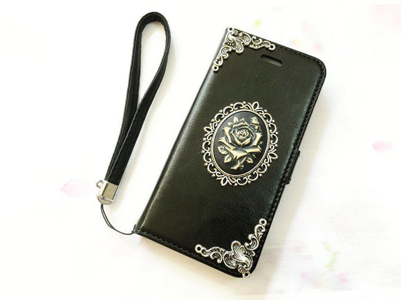Flower handmade phone leather wallet case for Apple / Samsung MN0065-icasecollections