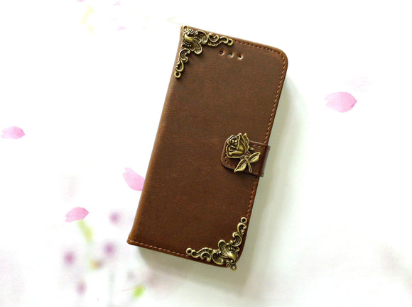 Flower handmade phone leather wallet case for Apple / Samsung MN0081-icasecollections