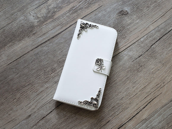 Flower leather wallet handmade phone case cover for Apple / Samsung MN0937-icasecollections