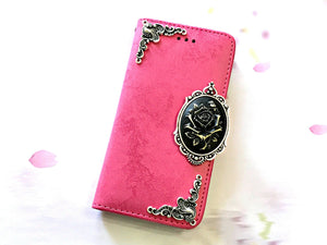 Flower phone leather wallet stand removable case cover for Apple / Samsung MN0642-icasecollections