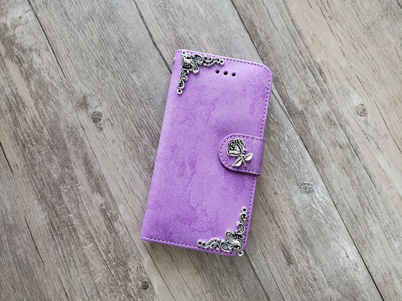 Flower phone leather wallet stand removable case cover for Apple / Samsung MN1020-icasecollections