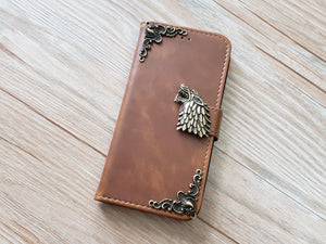 Game of Thrones House Stark leather wallet handmade phone case cover for Apple / Samsung MN0927-icasecollections