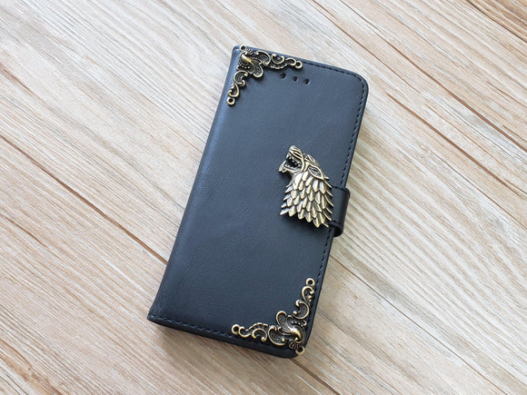 Game of Thrones House Stark leather wallet handmade phone case cover for Apple / Samsung MN0929-icasecollections