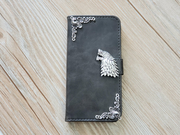 Game of Thrones House Stark leather wallet handmade phone case for Apple / Samsung MN0763-icasecollections