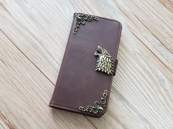 Game of Thrones House Stark leather wallet handmade phone case for Apple / Samsung MN0928-icasecollections