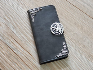 Game of Thrones Targaryen Dragon leather wallet handmade phone case for Apple / Samsung MN0767-icasecollections
