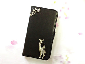 Giraffe handmade phone leather wallet case for Apple / Samsung MN0063-icasecollections