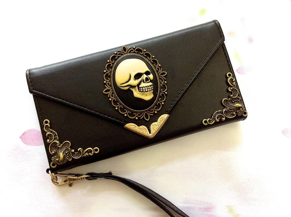 Gothic skull handmade phone wallet case for Apple / Samsung MN0097-icasecollections