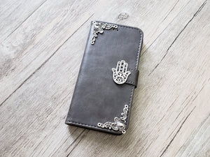 Hamsa leather wallet handmade phone case cover for Apple / Samsung MN0952-icasecollections