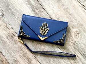 Hamsa phone leather wallet case, handmade phone wallet cover for Apple / Samsung MN1087-icasecollections