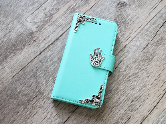 Hamsa phone leather wallet stand removable case cover for Apple / Samsung MN0960-icasecollections