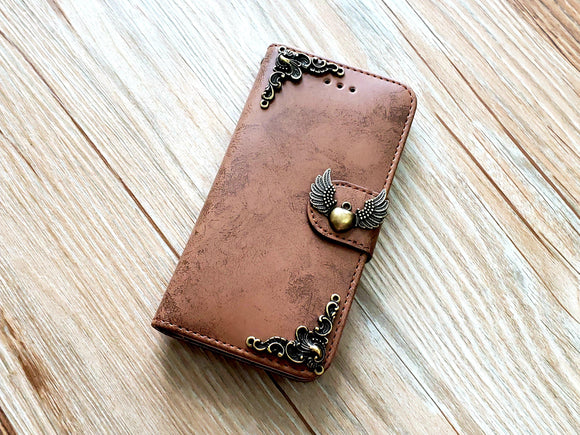 Heart angel wing phone leather wallet removable case cover for Apple / Samsung MN0845-icasecollections