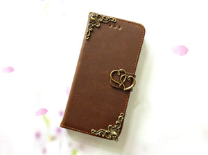 Heart handmade phone leather wallet case for Apple / Samsung MN0079-icasecollections