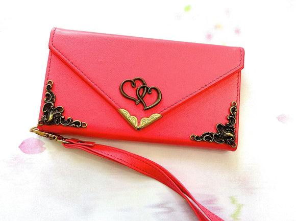 Heart handmade phone leather wallet case for Apple / Samsung MN0211-icasecollections