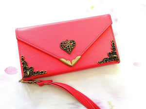 Heart handmade phone leather wallet case for Apple / Samsung MN0214-icasecollections