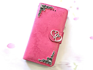 Heart phone leather wallet stand removable case cover for Apple / Samsung MN0638-icasecollections