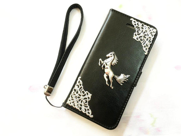 Horse handmade phone leather wallet case for Apple / Samsung / MN0068-icasecollections