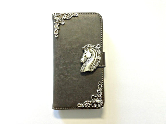 Horse handmade phone leather wallet case for Apple / Samsung MN0126-icasecollections
