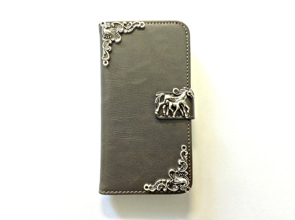 Horse handmade phone leather wallet case for Apple / Samsung MN0141-icasecollections