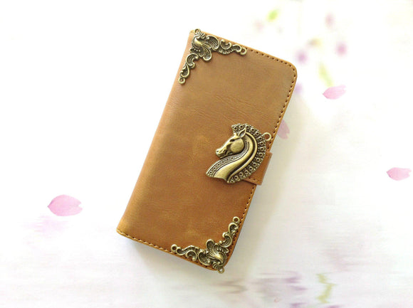 Horse handmade phone leather wallet case for Apple / Samsung MN0265-icasecollections