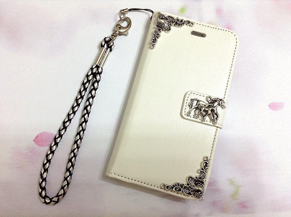 Horse handmade phone leather wallet case for Apple / Samsung MN0289-icasecollections