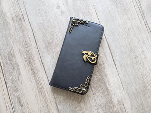 Horus eye leather wallet handmade phone case cover for Apple / Samsung MN1152-icasecollections