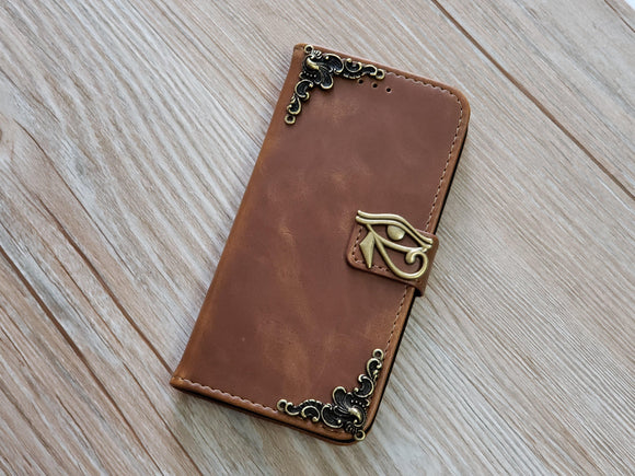 Horus Eye leather wallet handmade phone case for Apple / Samsung MN0784-icasecollections
