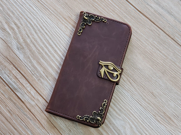 Horus Eye leather wallet handmade phone case for Apple / Samsung MN0789-icasecollections