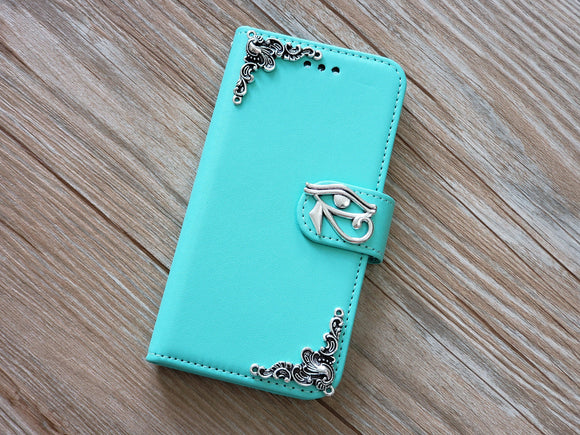 Horus Eye phone leather wallet removable case cover for Apple / Samsung MN0804-icasecollections