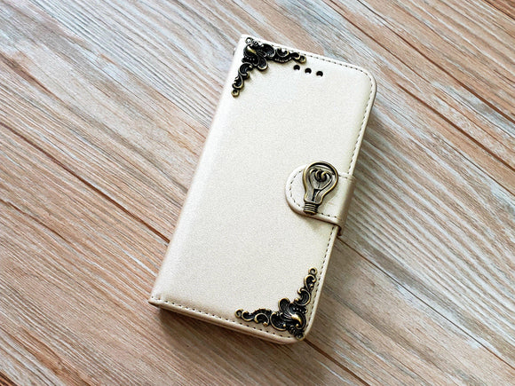 Light bulb phone leather wallet removable case cover for Apple / Samsung MN0923-icasecollections