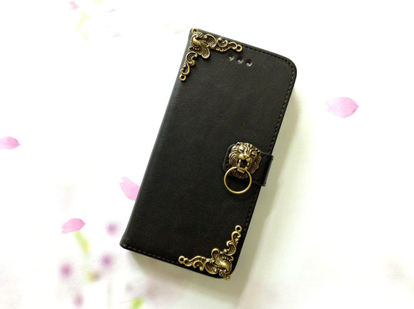 Lion handmade phone leather wallet case for Apple / Samsung MN0001-icasecollections