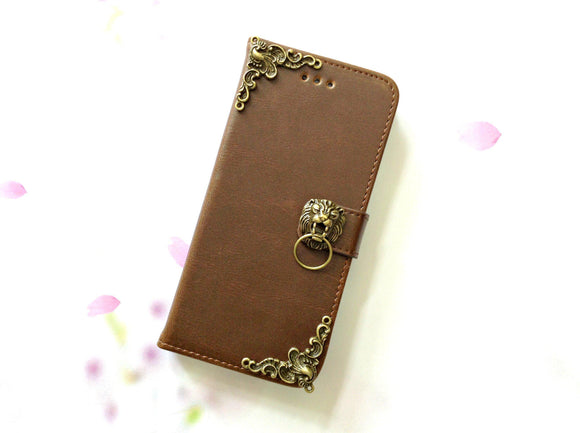 Lion handmade phone leather wallet case for Apple / Samsung MN0075-icasecollections