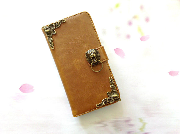 Lion handmade phone leather wallet case for Apple / Samsung MN0257-icasecollections