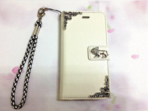 Lion handmade phone leather wallet case for Apple / Samsung MN0287-icasecollections