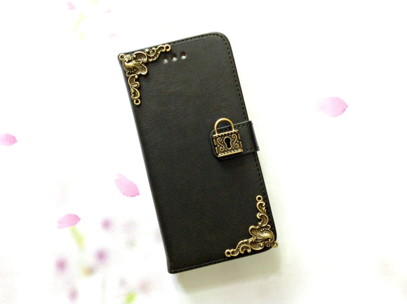 Lock handmade phone leather wallet case cover for Apple/Samsung MN0002-icasecollections
