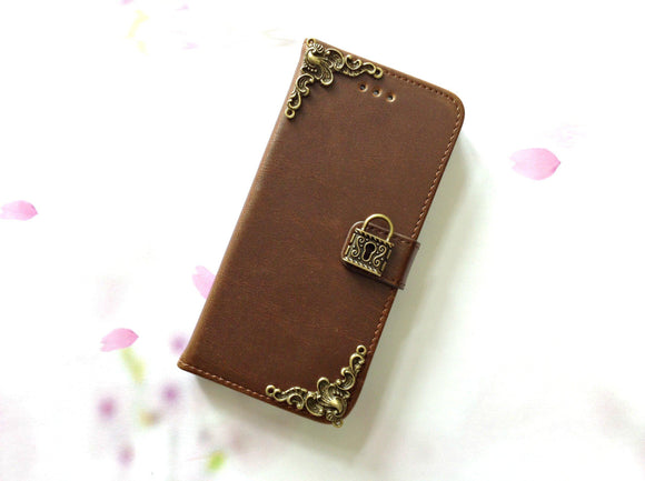 Lock handmade phone leather wallet case for Apple / Samsung MN0082-icasecollections