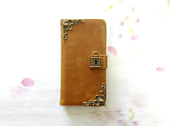 Lock handmade phone leather wallet case for Apple / Samsung MN0255-icasecollections
