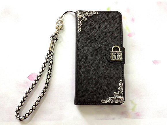 Lock phone leather wallet removable case cover for Apple / Samsung MN0473-icasecollections