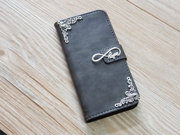 Love Infinity Symbol leather wallet handmade phone case for Apple / Samsung MN0764-icasecollections