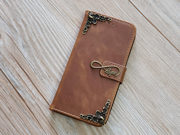 Love Infinity Symbol leather wallet handmade phone case for Apple / Samsung MN0778-icasecollections