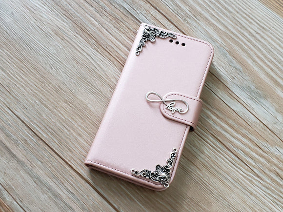Love Infinity Symbol phone leather wallet removable case cover for Apple / Samsung MN0916-icasecollections