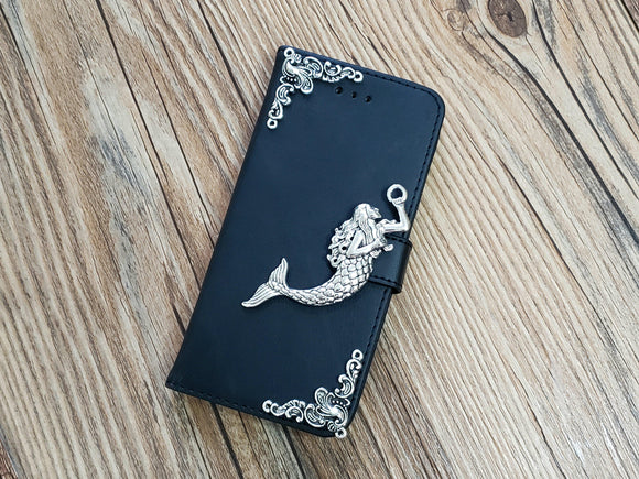 Mermaid leather wallet handmade phone case cover for Apple / Samsung MN0788-icasecollections