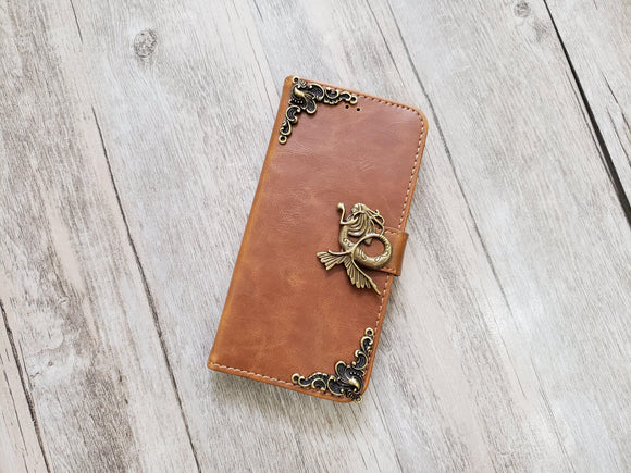 Mermaid leather wallet handmade phone case for Apple / Samsung MN1098-icasecollections