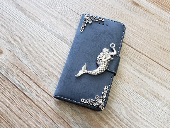 Mermaid phone leather wallet removable case cover for Apple / Samsung MN0892-icasecollections
