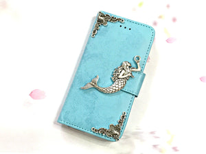 Mermaid phone leather wallet stand removable case cover for Apple / Samsung MN0631-icasecollections