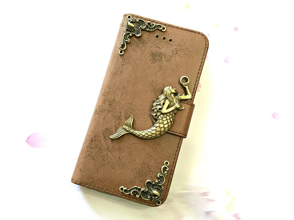 Mermaid phone leather wallet stand removable case cover for Apple / Samsung MN0644-icasecollections