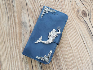 Mermaid phone leather wallet stand removable case cover for Apple / Samsung MN0769-icasecollections