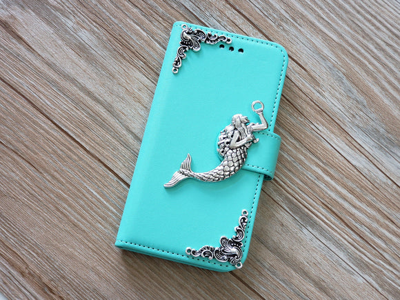 Mermaid phone leather wallet stand removable case cover for Apple / Samsung MN0806-icasecollections
